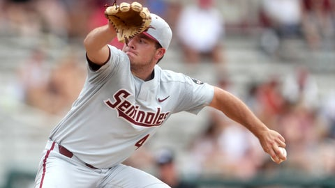 June 2, 2018; Tallahassee, FL, USA; FSU pitcher Drew Parrish pitches against Mississippi State during their NCAA Regional game at Dick Howser Stadium. Mandatory Credit: Joe Rondone/Tallahassee Democrat via USA TODAY Sports