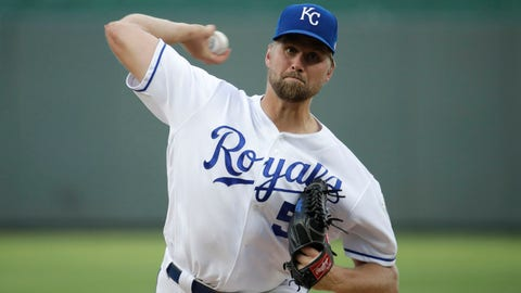Kansas City Royals starting pitcher Glenn Sparkman throws during the first inning of a baseball game against the Boston Red Sox Tuesday, June 4, 2019, in Kansas City, Mo. (AP Photo/Charlie Riedel)