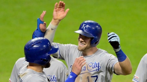 Jun 25, 2019; Cleveland, OH, USA; Kansas City Royals third baseman Hunter Dozier (17) celebrates his grand slam in the ninth inning against the Cleveland Indians at Progressive Field. Mandatory Credit: David Richard-USA TODAY Sports