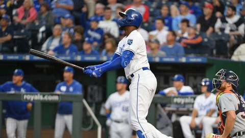 Jun 12, 2019; Kansas City, MO, USA; Kansas City Royals designated hitter Jorge Soler (12) hits a one run double in the third inning against the Detroit Tigers at Kauffman Stadium. Mandatory Credit: Denny Medley-USA TODAY Sports