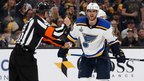 May 29, 2019; Boston, MA, USA; St. Louis Blues center Brayden Schenn (10) argues with an official after being called for a slashing penalty against the Boston Bruins in the third period in game two of the 2019 Stanley Cup Final at TD Garden. Mandatory Credit: Winslow Townson-USA TODAY Sports