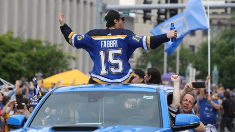 St. Louis Blues center Robby Fabbri reacts to fans during the NHL hockey Stanley Cup victory celebration, Saturday, June 15, 2019, in St. Louis. (AP Photo/Scott Kane)