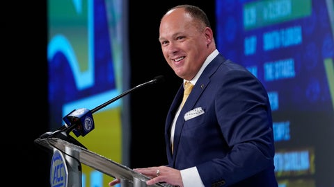 <p>               Georgia Tech head coach Geoff Collins speaks during the Atlantic Coast Conference NCAA college football media days in Charlotte, N.C., Thursday, July 18, 2019. (AP Photo/Chuck Burton)             </p>