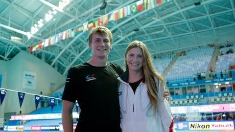 <p>               In this Saturday July 20, 2019 photo, Ellie Smart and Owen Weymouth pictured at the World Swimming Championships in Gwangju, South Korea. American Ellie Smart and Brit Owen Weymouth, two high divers at the world championships in Gwangju, fell in love not just with the sport of high diving but also with each other. They now travel the world competing together and coaching each other to new extremes. (AP Photo/Lee Jin-man)             </p>