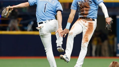 <p>               Tampa Bay Rays Kevin Kiermaier, right, celebrates with teammate Willy Adames after defeating the New York Yankees during their baseball game Sunday July 7, 2019, in St. Petersburg, Fla. (AP Photo/Scott Audette)             </p>