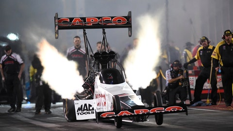 <p>               In this photo provided by the NHRA,  Steve Torrence drives in Top Fuel qualifying Saturday, July 20, 2019, for the Dodge Mile-High NHRA Nationals drag races at Bandimere Speedway in Morrison, Colo. (Jerry Foss/NHRA via AP)             </p>