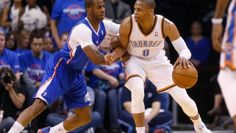 <p>               FILE - In this Monday, May 5, 2014 file photo, Oklahoma City Thunder guard Russell Westbrook (0) drives against Los Angeles Clippers guard Chris Paul (3) in the first quarter of Game 1 of the Western Conference semifinal NBA basketball playoff series in Oklahoma City.  A person with knowledge of the situation says the Oklahoma City Thunder have traded Russell Westbrook to the Houston Rockets for Chris Paul, a shake up of top point guards and a move that reunites Westbrook with James Harden, Thursday, July 11, 2019. (AP Photo/Sue Ogrocki, File)             </p>