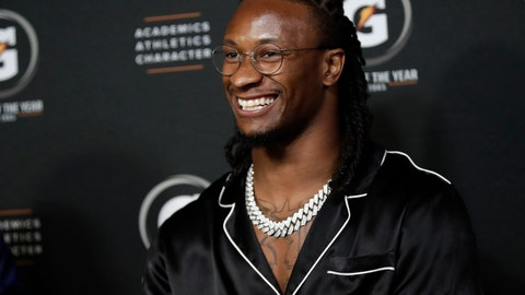 <p>               Los Angeles Rams running back Todd Gurley smiles as he conducts interviews during the High School Athlete of the Year Awards Tuesday, July 9, 2019, in Los Angeles. (AP Photo/Marcio Jose Sanchez)             </p>