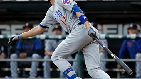 <p>               Chicago Cubs' Kris Bryant watches after hitting a one-run single against the Chicago White Sox during the first inning of a baseball game in Chicago, Saturday, July 6, 2019. (AP Photo/Nam Y. Huh)             </p>
