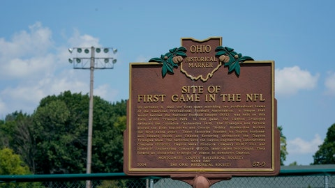 <p>               A plaque commemorating the site of the first NFL football game stands in Triangle Park, Saturday, July 27, 2019, in Dayton, Ohio. (AP Photo/Bryan Woolston)             </p>