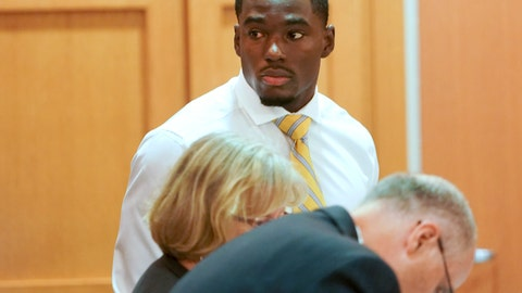 <p>               In this Tuesday, July 30, 2019 photo, former University of Wisconsin football player Quintez Cephus watches during his sexual assault trial at the Dane County Courthouse in Madison, Wis. The 21-year-old Cephus is charged with second- and third-degree sexual assault after two 18-year-old women reported to police that he had assaulted them on the same night in April 2018.(Steve Apps/Wisconsin State Journal via AP)             </p>