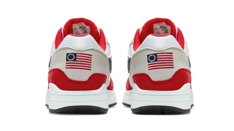 <p>               This undated product image obtained by the Associated Press shows Nike Air Max 1 Quick Strike Fourth of July shoes that have a U.S. flag with 13 white stars in a circle on it, known as the Betsy Ross flag, on them. Nike is pulling the flag-themed tennis shoe after former NFL quarterback Colin Kaepernick complained to the shoemaker, according to the Wall Street Journal. (Nike via AP Photo)             </p>