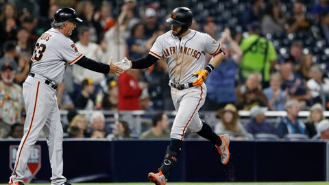 <p>               San Francisco Giants' Evan Longoria, right, greets third base coach Ron Wotus, left, after hitting his second home run of the night, a three-run home run hit during the fifth inning of a baseball game against the San Diego Padres, Tuesday, July 2, 2019, in San Diego. (AP Photo/Gregory Bull)             </p>