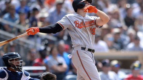 <p>               Baltimore Orioles' Chris Davis, right, watches his home run as San Diego Padres catcher Francisco Mejia looks on during the eighth inning of a baseball game Tuesday, July 30, 2019, in San Diego. (AP Photo/Orlando Ramirez)             </p>