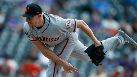 <p>               San Francisco Giants relief pitcher Mark Melancon works against the Colorado Rockies in the ninth inning of a baseball game Wednesday, July 17, 2019, in Denver. The Giants won 11-8 to sweep the four-game series. (AP Photo/David Zalubowski)             </p>