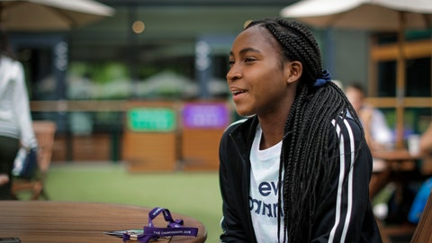 """<p>               United States' Cori """"Coco"""" Gauff speaks to The Associated Press during the Wimbledon Tennis Championships in London, Tuesday, July 9, 2019. A day after her memorable Wimbledon ended, Coco Gauff already was thinking about coming back. """"Obviously, there's always room for improvement,"""" Gauff said in an interview with The Associated Press at the All England Club on Tuesday.(AP Photo/Ben Curtis)             </p>"""