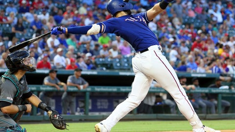 <p>               Texas Rangers Joey Gallo (13) follows through on a solo home run in the fourth inning of a baseball game against the Arizona Diamondbacks Tuesday, July 16, 2019 in Arlington, Texas. (AP Photo/Richard W. Rodriguez)             </p>