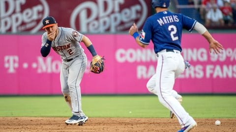 <p>               Houston Astros shortstop Alex Bregman (2) reacts after being hit in the face by a ground ball by Texas Rangers' Shin-Soo Choo as Jeff Mathis (2) runs towards second during the third inning of a baseball game Thursday, July 11, 2019, in Arlington, Texas. Bregman left the game because of the injury. (AP Photo/Jeffrey McWhorter)             </p>