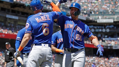 <p>               New York Mets' Pete Alonso, right, celebrates with Jeff McNeil (6) after hitting a three-run home run off San Francisco Giants' Derek Holland in the sixth inning of a baseball game Saturday, July 20, 2019, in San Francisco. (AP Photo/Ben Margot)             </p>