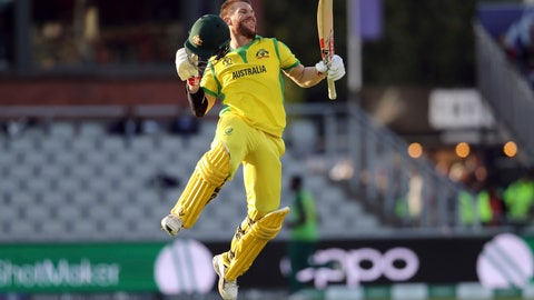 <p>               Australia's David Warner celebrates after scoring a century during the Cricket World Cup match between Australia and South Africa at Old Trafford in Manchester, Saturday, July 6, 2019. (AP Photo/Rui Vieira)             </p>