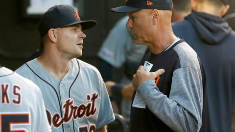 <p>               Detroit Tigers bench coach Steve Liddle, right, talks with starting pitcher Tyler Alexander in the dugout, during the fourth inning of a baseball game against the Chicago White Sox Wednesday, July 3, 2019, in Chicago. (AP Photo/Charles Rex Arbogast)             </p>