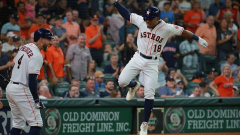 <p>               Houston Astros' Tony Kemp (18) celebrates his solo home run against the Texas Rangers as teammate George Springer (4) looks on in the sixth inning of a baseball game Saturday, July 20, 2019, in Houston. (AP Photo/Richard Carson)             </p>