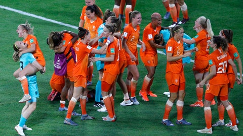 <p>               Netherlands players celebrates at the end of the Women's World Cup semifinal soccer match between the Netherlands and Sweden, at the Stade de Lyon outside Lyon, France, Wednesday, July 3, 2019. Netherlands won 1-0. (AP Photo/Francois Mori)             </p>