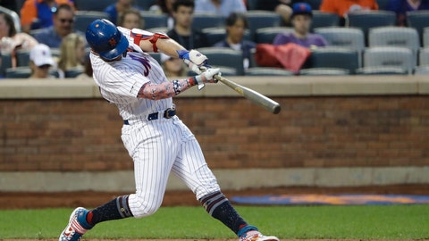 <p>               New York Mets' Pete Alonso hits a home run during the fourth inning of the team's baseball game against the Philadelphia Phillies on Friday, July 5, 2019, in New York. (AP Photo/Frank Franklin II)             </p>