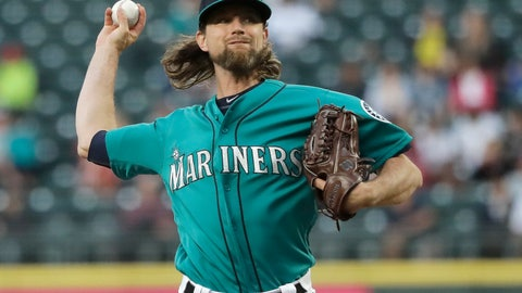 <p>               Seattle Mariners starting pitcher Mike Leake throws against the Los Angeles Angels during the fifth inning of a baseball game, Friday, July 19, 2019, in Seattle. (AP Photo/Ted S. Warren)             </p>