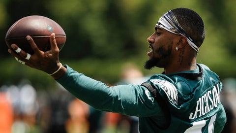 <p>               Philadelphia Eagles wide receiver DeSean Jackson catches a pass during practice at the NFL football team's training camp in Philadelphia, Thursday, July 25, 2019. (AP Photo/Matt Rourke)             </p>