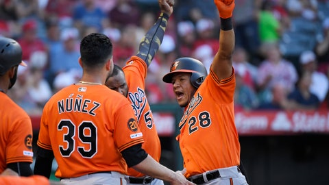 <p>               Baltimore Orioles' Pedro Severino, right, celebrates with Renato Nunez, left, and Hanser Alberto after hitting a two-run home run during the third inning of a baseball game against the Los Angeles Angels, Saturday, July 27, 2019, in Anaheim, Calif. (AP Photo/Mark J. Terrill)             </p>
