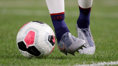 <p>               Liverpool FC's James Milner kicks the ball during the second half of a soccer match against the Sporting CP Wednesday, July 24, 2019, in New York. The game ended 2-2. (AP Photo/Frank Franklin II)             </p>