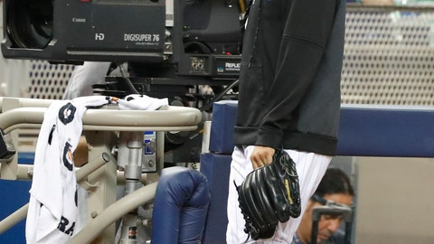 <p>               Miami Marlins relief pitcher Sergio Romo walks back to the clubhouse after of a baseball game against the Arizona Diamondbacks, Saturday, July 27, 2019, in Miami. The AL Central-leading Minnesota Twins acquired the 36-year-old righty from Miami on Saturday night, hoping to boost their beleaguered bullpen for the stretch. (AP Photo/Wilfredo Lee)             </p>