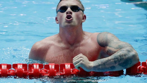 <p>               Britain's Adam Peaty reacts after winning the men's 100m breaststroke final at the World Swimming Championships in Gwangju, South Korea, Monday, July 22, 2019. (AP Photo/Mark Schiefelbein)             </p>