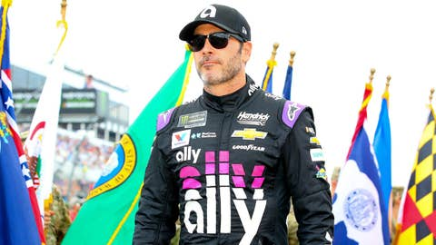 LONG POND, PA - JULY 28:  Jimmie Johnson driver of the #48 Ally Chevrolet during driver introductions prior to the Monster Energy NASCAR Cup Series  - Gander Outdoors 400 on July 28, 2019 at Pocono Raceway in Long Pond, Pa. (Photo by Rich Graessle/Icon Sportswire via Getty Images)