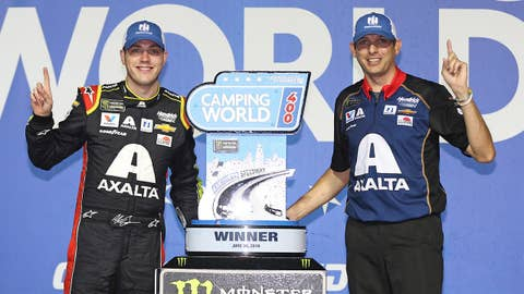JOLIET, ILLINOIS - JUNE 30: Alex Bowman, driver of the #88 Axalta Chevrolet, and crew chief Greg Ives pose with the trophy after winning the Monster Energy NASCAR Cup Series Camping World 400 at Chicagoland Speedway on June 30, 2019 in Joliet, Illinois. (Photo by Matt Sullivan/Getty Images)