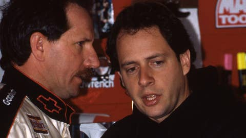 UNKNOWN:  Kirk Shelmerdine, crew chief for Dale Earnhardt, Sr. talks to Dale in the garage before a race circa 1990's.  (Photo by ISC Archives via Getty Images)