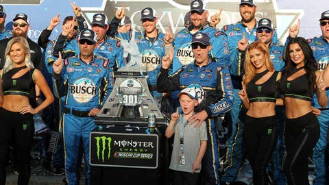 LOUDON, NH - JULY 21: Kevin Harvick celebrates winning the NASCAR Monster Energy Cup Series Foxwoods 301 on July 21, 2019, at New Hampshire Motor Speedway in Loudon, New Hampshire.  (Photo by Michael Bush/Icon Sportswire via Getty Images)