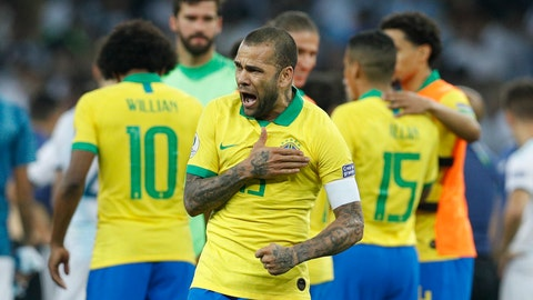 <p>               Brazil's Dani Alves celebrates his team's 2-0 victory over Argentina at the end of their Copa America semifinal soccer match at Mineirao stadium in Belo Horizonte, Brazil, Tuesday, July 2, 2019. (AP Photo/Victor R. Caivano)             </p>