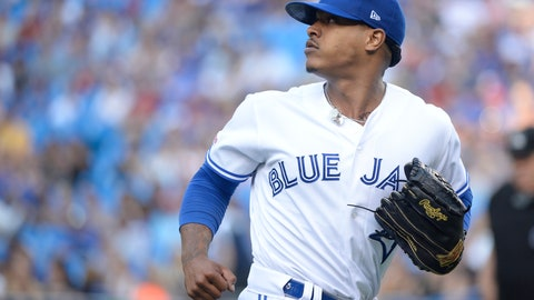 <p>               Toronto Blue Jays starting pitcher Marcus Stroman (6) looks back as a teammate makes a catch for an out against the Cleveland Indians during the first inning of a baseball game, Wednesday, July 24, 2019 in Toronto. (Nathan Denette/Canadian Press via AP)             </p>