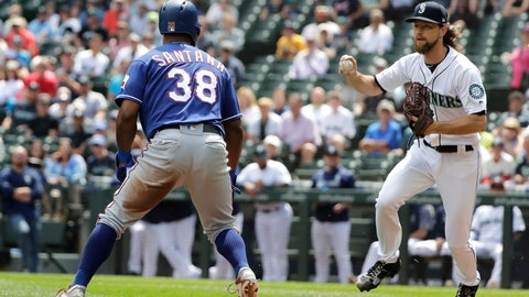 <p>               Seattle Mariners starting pitcher Mike Leake, right, runs down Texas Rangers' Danny Santana (38) on a fielder's choice hit by Rangers' Elvis Andrus during the first inning of a baseball game, Wednesday, July 24, 2019, in Seattle. (AP Photo/Ted S. Warren)             </p>