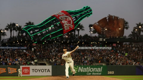 <p>               San Francisco Giants pitcher Madison Bumgarner throws to a Chicago Cubs batter during the seventh inning of a baseball game in San Francisco, Tuesday, July 23, 2019. (AP Photo/Jeff Chiu)             </p>