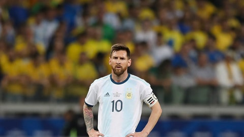 <p>               Argentina's Lionel Messi stands in the field during a Copa America semifinal soccer match against Brazil at the Mineirao stadium in Belo Horizonte, Brazil, Tuesday, July 2, 2019. (AP Photo/Ricardo Mazalan)             </p>