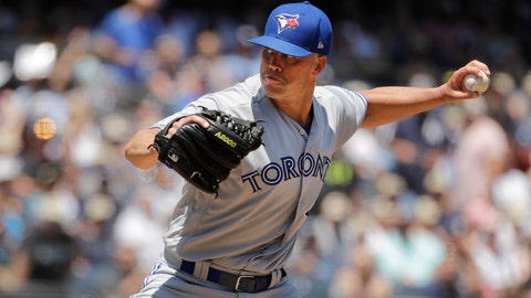 <p>               Toronto Blue Jays' Clayton Richard delivers a pitch during the first inning of a baseball game against the New York Yankees Saturday, July 13, 2019, in New York. (AP Photo/Frank Franklin II)             </p>