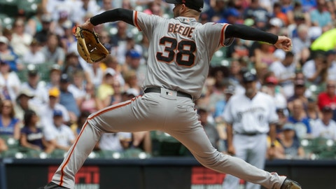 <p>               San Francisco Giants starter Tyler Beede throws during the first inning of a baseball game against the Milwaukee Brewers Sunday, July 14, 2019, in Milwaukee. (AP Photo/Morry Gash)             </p>