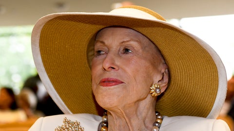 """<p>               In this Aug. 3, 2018 photo, Marylou Whitney is seen at the National Museum of Racing and Hall of Fame in Saratoga Springs, N.Y. Philanthropist, socialite and horse-racing enthusiast Marylou Whitney, known as the """"Queen of Saratoga,"""" has died at her Saratoga Springs estate after a long illness. She was 93. The New York Racing Association announced Whitney's death on Friday, July 19, 2019 at Saratoga Race Course. (AP Photo/Hans Pennink)             </p>"""