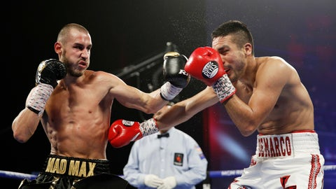 """<p>               FILE - In this Oct. 20, 2018, file photo, Maxim Dadashev, of Russia, left, hits Antonio DeMarco, of Mexico, during a junior welterweight bout  in Las Vegas. Maxim Dadashev has died after suffering a brain injury in a fight in Maryland. He was 28. The Russian Boxing Federation said Tuesday, July 23, 2019, that Dadashev died """"as a result of the injuries he sustained"""" in Friday's, July 19, 2019, light-welterweight fight with Subriel Matias at the Theater at MGM National Harbor in Oxon Hill, Maryland. (AP Photo/John Locher, File)             </p>"""