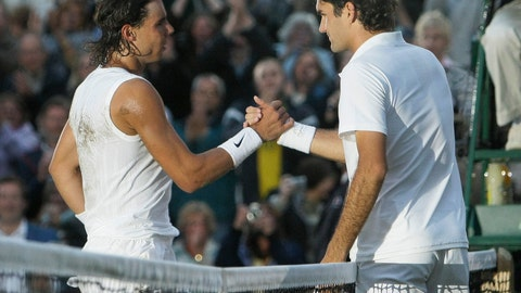 <p>               FILE - In this Sunday, July 6, 2008 file photo Spain's Rafael Nadal left, shakes the hand of Switzerland's Roger Federer after winning the men's final on the Centre Court at Wimbledon. After going more than 1½ years without playing each other anywhere, Roger Federer and Rafael Nadal will be meeting at a second consecutive Grand Slam tournament when they face off in Wimbledon's semifinals. (AP Photo/Anja Niedringhaus, File)             </p>