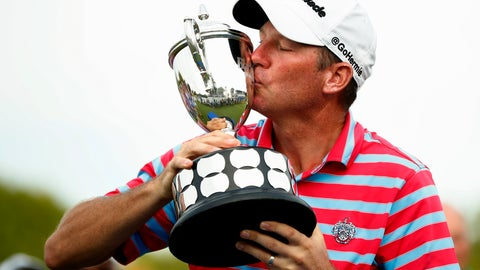 <p>               Jim Herman kisses the trophy after winning the PGA Barbasol Championship golf tournament at Keene Trace Golf Club's Champions Course in Nicholasville, Ky., Sunday, July 21, 2019. (Alex Slitz/Lexington Herald-Leader via AP)             </p>