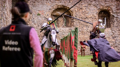 <p>               In this photo issued by English Heritage Wednesday July 31, 2019, Medieval jousting is being brought up-to-date with tests to use VAR Hawk-Eye video review technology to make sure scoring is accurate, with English Heritage testing the new tech, in Framlington, England, ahead of the upcoming 2019 season of jousting competitions.  English Heritage says accuracy is vital in jousting, a sport in which participants on horseback charge at speeds of up to 30 miles per hour (48 kph) to strike their opponent, and now VAR may make scoring accurate. (Jim Holden/English Heritage via AP)             </p>